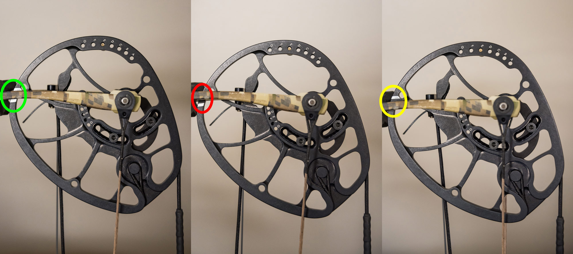 Marking the cams of your bow to confirm cosistency.