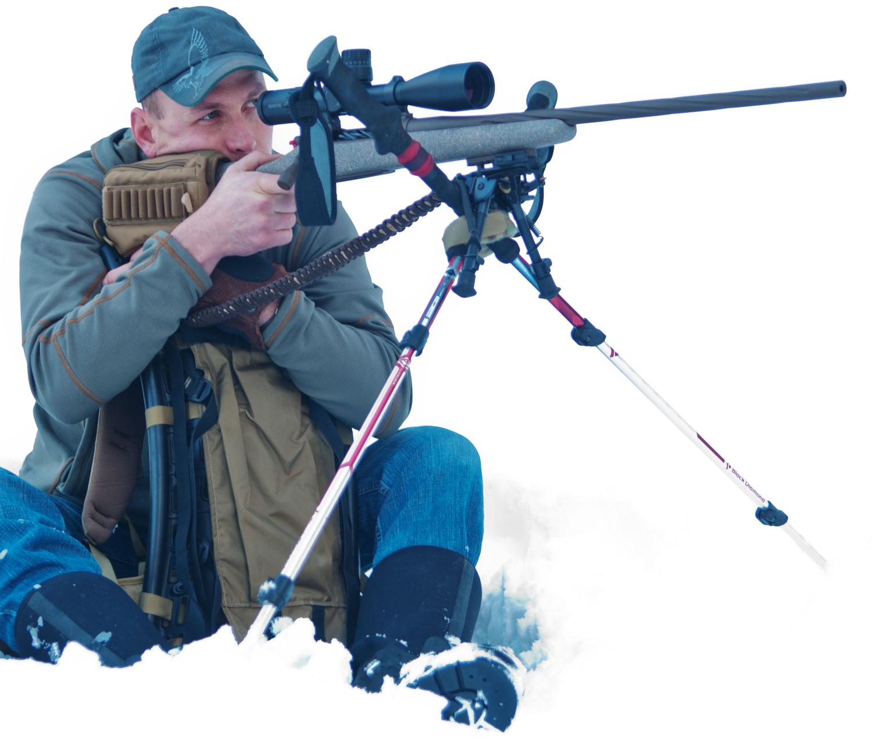 Colton Bagnoli using his trekking poles for an improvised rifle shot