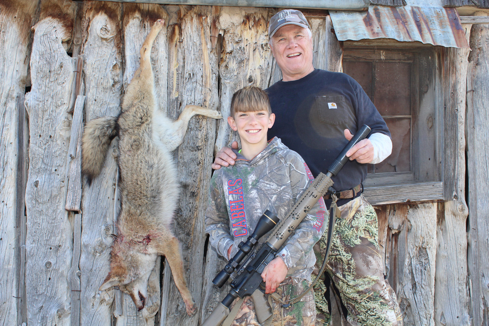 kids hunting for coyote