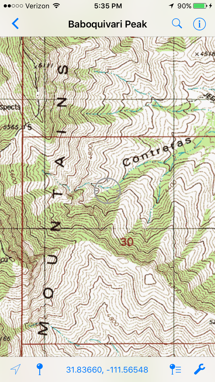 A topo map within the hunting app