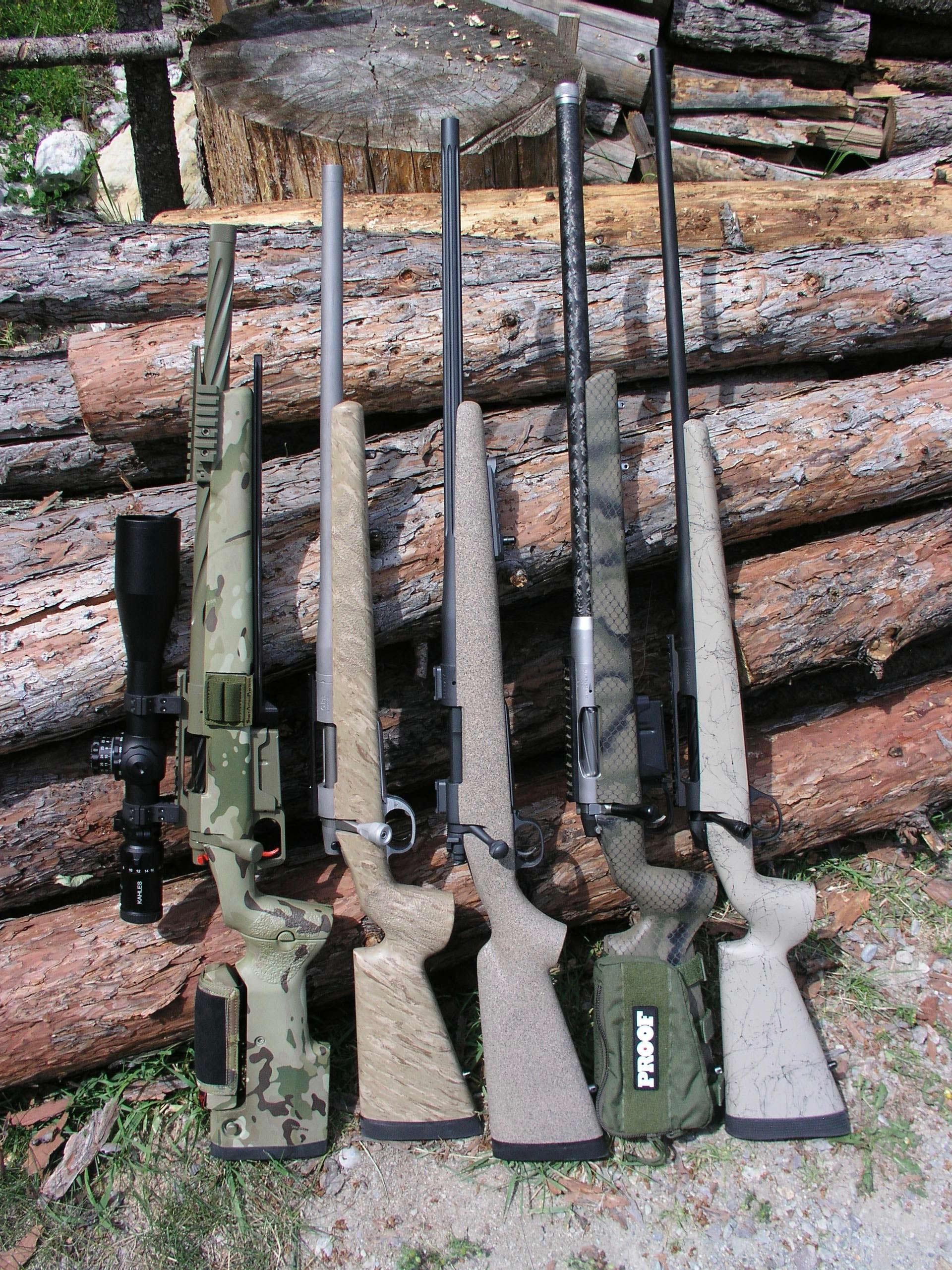 Five rifles showing different barrel lengths