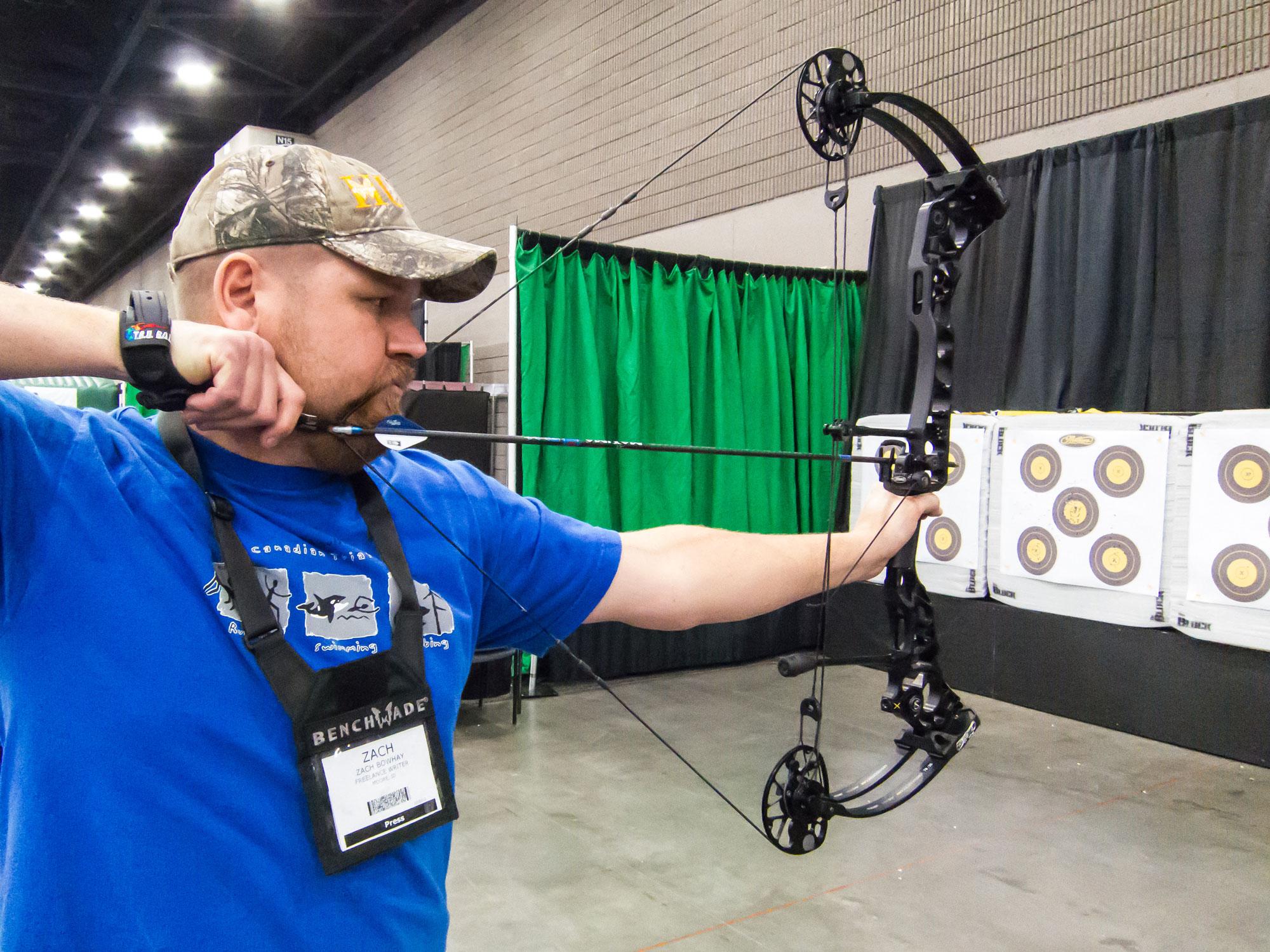 Zack Bowhay testing a new mathews bow